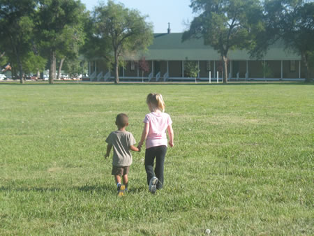Robbie and Morgan walking at Fort Robinson