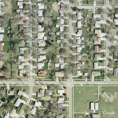 Satellite image of a Lincoln neighborhood