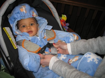 Robert in his carseat, wearing his giant snowsuit